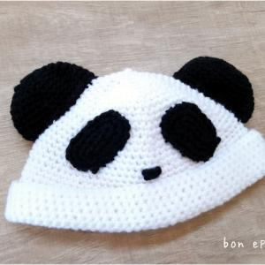 秋出産予定のお孫さんに♪可愛いパンダ帽子が編みあがりました♡