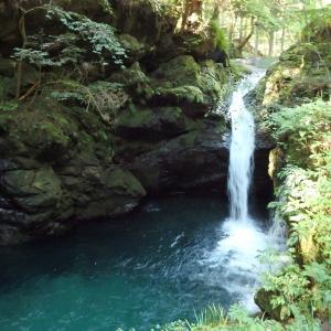 『粥川の矢納滝周辺と釣舟草たち』