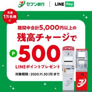 ≪先着≫セブン銀行ATMからLINEペイにチャージで500p!の巻