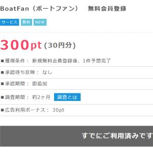 ≪即30円≫ボートファン、登録&投票(無料)で即GET!の巻