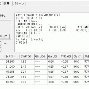 160mバンド拡張活用企画(64)水平DPアンテナ(2)1/2λサイズで30m高位置特性