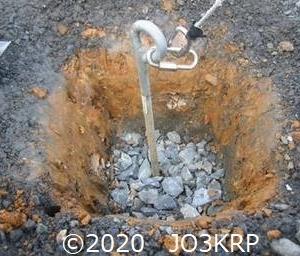 過去のHP記事再現(27)アンテナプロジェクト(9)基礎工事(3)別のステー線引留金具基礎の改良