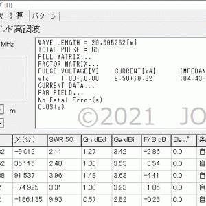 無給電方式(10/3.5MHz)2バンド化アンテナ(3)MMANA摸索(1)3倍高調波動作(前半)