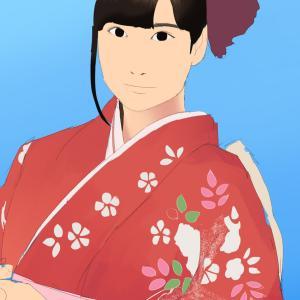 女性声優の伊波杏樹を描く その1の3 着物の柄の塗り 着物姿