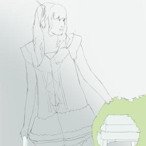 田村ゆかりを描く その6の2 スケッチの背景を塗る