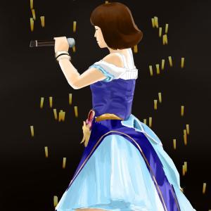 アイドルマスターの衣装の原紗友里を描く その9の5 スケッチを塗り進める