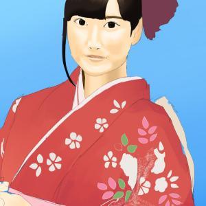 女性声優の伊波杏樹を描く その1の4 顔の塗り 着物姿