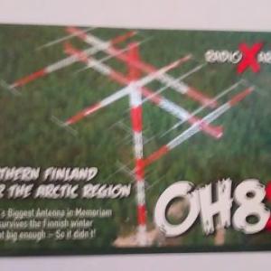 Buro 経由で届いた QSL card OH8X ( Finland )
