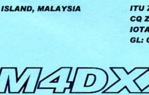 Buro 経由で届いた QSL card 9M4DXX ( West Malaysia )