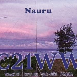 Buro 経由で届いた QSL card C21WW ( Nauru )