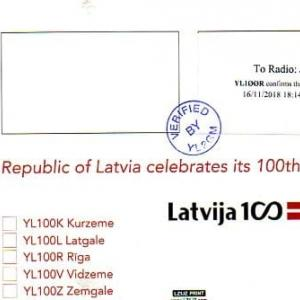 Buro 経由で届いた QSL card YL100R ( Latvia )