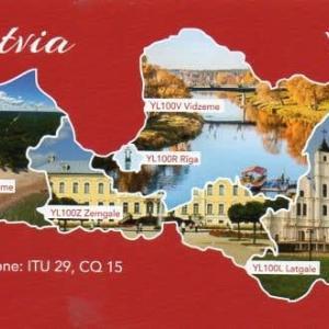 Buro 経由で届いた QSL card YL100L ( Latvia )