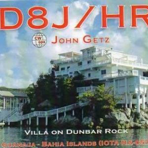 Buro 経由で届いた QSL card AD8J/HR9 ( Honduras )