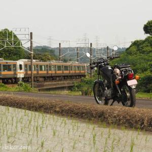 線路沿いの水田で、バイク写真撮影