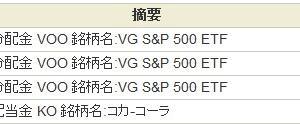 2020年10月、VOOから配当金が入ってきました。