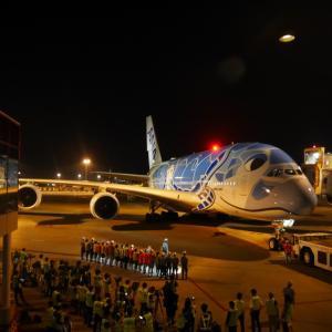 【祝就航!】ANA184便 エアバスA380 成田→ホノルル フライングホヌ就航初便 搭乗・・・? 出発の様子【2019年旅行記11-2】
