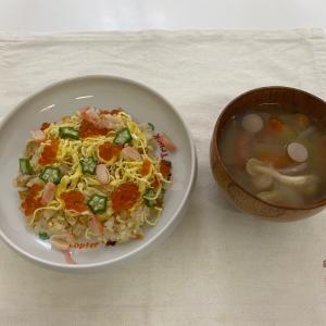 子どもご飯【七夕ちらし寿司と西瓜のスープ】