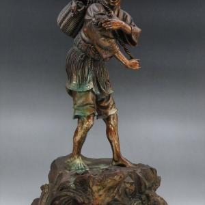 【新潟市/三条市/買取本舗ふくろう】 正鳳 漁夫 漁師 立像 銅像 銅製 工芸品 骨董品 美術品