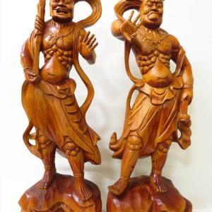 【新潟市/三条市/買取本舗ふくろう】 金剛力士像 仁王像 阿吽 仏像 木彫 彫刻 美術品 骨董品