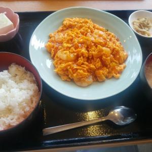 大田区西糀谷  わんわん庵 @日替り 海老とたまごのチリソース 680円