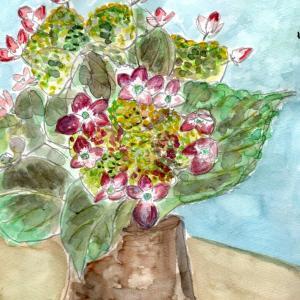 紫陽花を絵にしてみました。