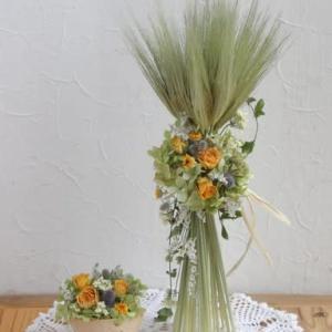 麦のパニエとミニアレンジ