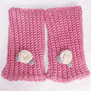 新作💕寒い冷たい風の日のあったか~い素敵なハンドウオーマー薔薇ピンク