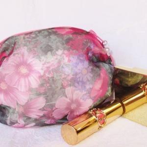母の日割引💕上品な花のオーガンジーのステキなポーチ💕