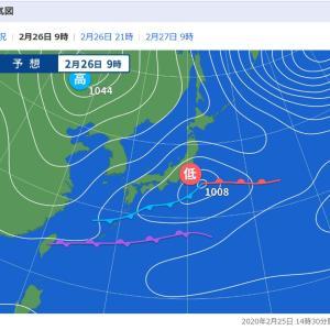 生憎の天気予報、釣り中止です。  2020年2月25日(火)
