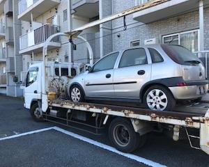 廃車手続き無料で車検切れ故障車をレッカー車で廃車の引き取りしました。