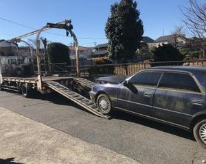 館林市からパンクの不動車をレッカー車で廃車の引き取りしました。