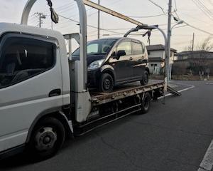 桐生市からレッカー車で他人名義の車検切れ故障車を廃車引き取りしました。