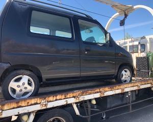羽村市からレッカー車でパンクの不動車を廃車の引き取りしました。