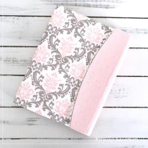 母子手帳カバー*ピンクのダマスク柄
