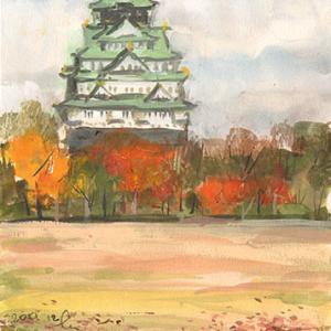 大阪城真正面に見る 冬の気配 F4