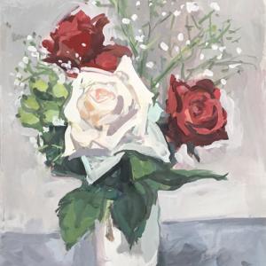 命のあるうちの薔薇を 何枚も描く  F4ガッシュ