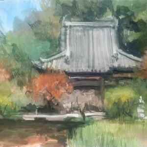 長岳寺  不透明水彩スケッチ