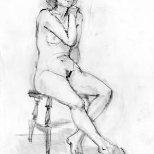 ヌードクロッキー  椅子のポーズ2態  耳と目の位置