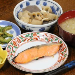 今日の晩飯「塩鮭」-健診、こわい