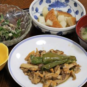 今日の晩飯「アサリとピーマンとエリンギのオイスターソース炒め」