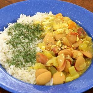 今日の昼飯と晩飯「ソーセージと根菜類のカレースープ」