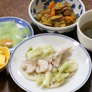 今日の晩飯「タラとレンコンと長ネギの蒸し焼き」