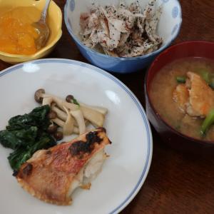 今日の晩飯「焼き干し赤魚」