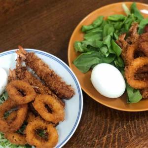 今日の昼飯と晩飯「シーフードフライ」