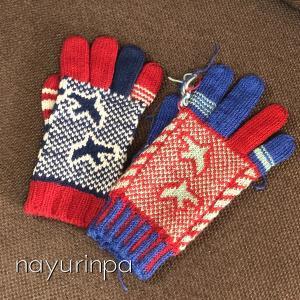 渡り鳥の手袋、片手が編めました(*^^)v