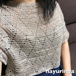 ダイヤ柄のプルオーバー①、編み始めていました(^^)