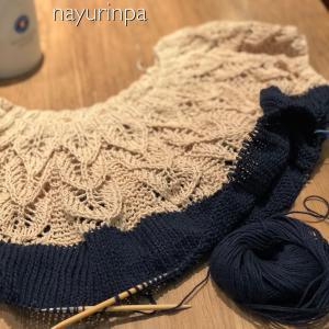 実は編みかけています(*^^*)ネックから編むセーター①