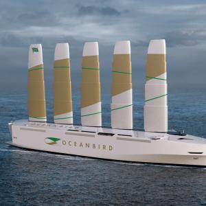 巨大な翼を装備した新たな貨物船