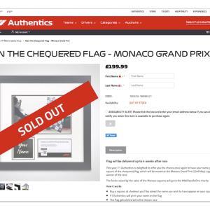 F1公式 2021年 第5戦モナコGP強制キャンセルされるも特例で第17戦日本GPの権利を先行ゲット!名前入りチェッカーフラッグ F1 Authentics 「OWN THE CHEQUERED FLAG」RedBull Honda