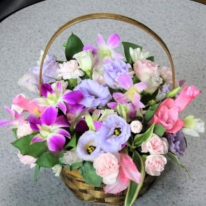 ○短い花材はバスケットにリメイク